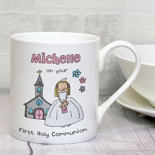 Personalised Bang On The Door First Holy Communion Girls Mug